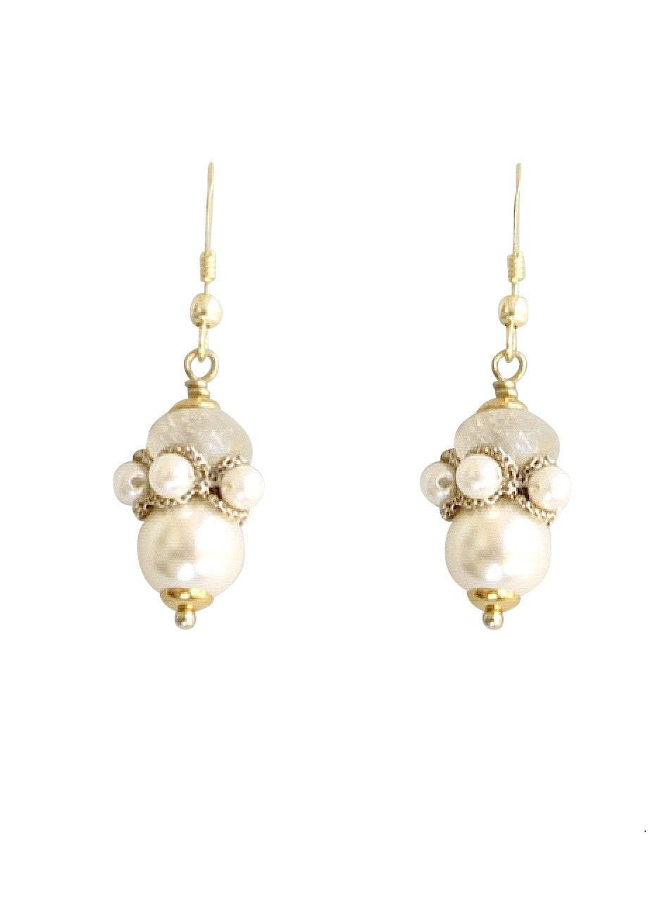 Iron quartz & pearl drops with 24K gold plated silver hooks
