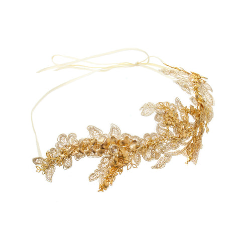 Gold Orchid Lace Headpiece