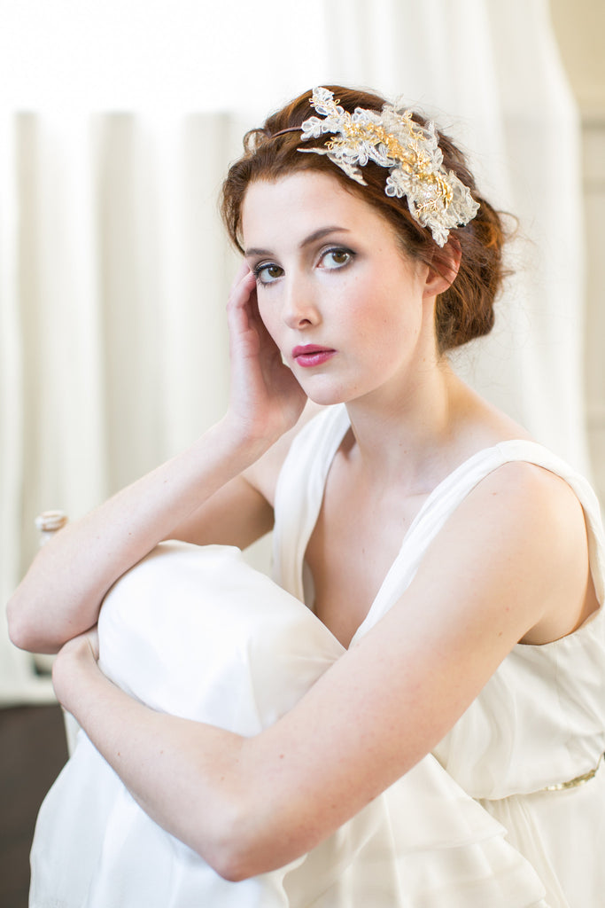 Gold Orchid Lace Headband