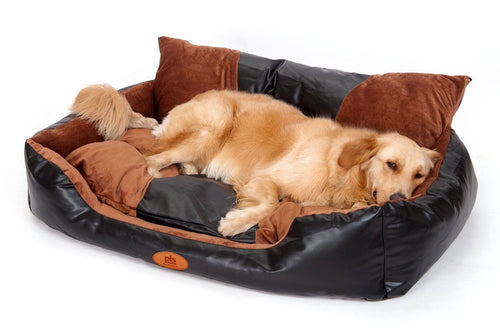 PLS Deluxe Lounger Faux Leather Bolster Pet Bed, Dog Bed Large Dogs, Faux Leather and Brown Suede Fabric, Removable Covers, Modern Design, Durable