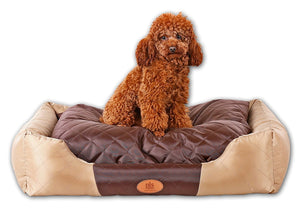 PLS BIRDSONG Royal All Seasons Bolster Pet Bed, Dog Bed for Medium Dogs, Waterproof Oxford Fabric, Cooler for Summertime