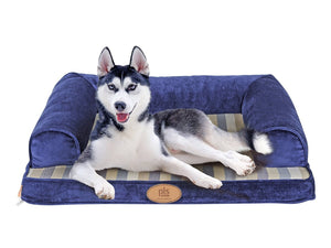 PLS BIRDSONG Blue Lounger Sofa, Firm Orthopedic Dog Bed, Foam Dog Bed