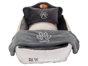 The Doggy Bed with Blanket, Bolster Dog Bed, Completely Washable