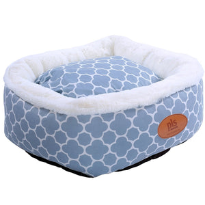 Trellis Circular Dog Bed, Pet Bed, Cat Bed, Gray, Removable Cover, Completely Washable