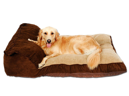 PLS BIRDSONG Siesta Deep Dish Dog Bed Brown, For Large Dogs, Removable Covers, Easy clean, Extra Thick