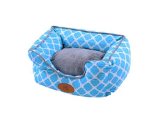 Trellis Bolster Dog Bed, Pet Bed, Cat Bed, Light Blue, Removable Cover, Completely Washable
