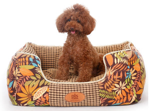 Golden Leaf Bolster Dog Bed, Completely Washable, Removable Cover with Zipper