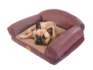 PLS Birdsong Paradise Plush Dog Sofa, Bolster Dog Bed, Dog Beds, Dog Bed with Removable Cover