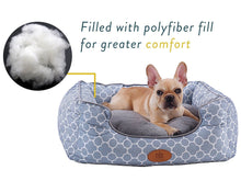Trellis Bolster Dog Bed, Pet Bed, Cat Bed, Light Blue & Gray, Removable Cover, Completely Washable