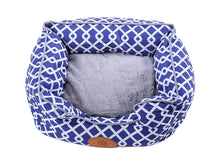 PLS Birdsong Trellis Bolster Dog Bed, Blue & Gray