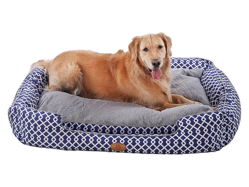 Trellis Bolster Dog Bed, Pet Bed, Cat Bed, Blue & Gray, Removable Cover, Completely Washable