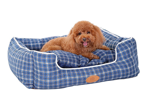 Trellis Bolster Plaid Dog Bed, Pet Bed, Cat Bed, Blue, Removable Cover, Completely Washable