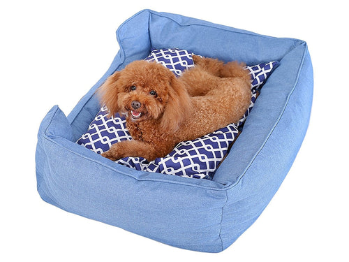 Trellis Bolster Dog Bed, Pet Bed, Cat Bed, Blue, Removable Cover, Completely Washable