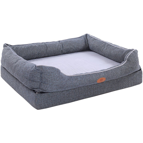 Fusion Orthopedic Dog Bed with Plush Bolster Sides, Firm Foam Dog Bed, Dog Beds for Large Dogs with Removable Cover