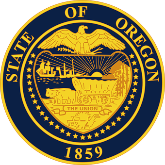 Oregon State Seal 1859 Trail Portland Salem Eugene Corvallis Ashland Coast Mt Hood Gorge Columbia River