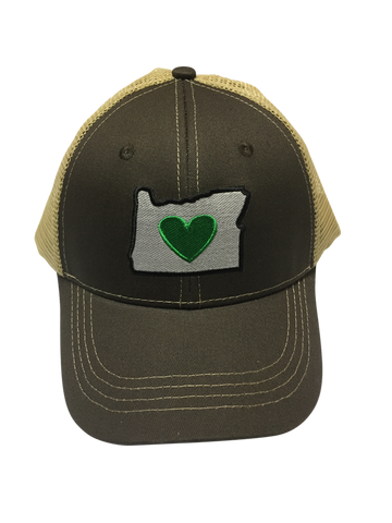 Trucker Hat - Green/White | Heart in Oregon