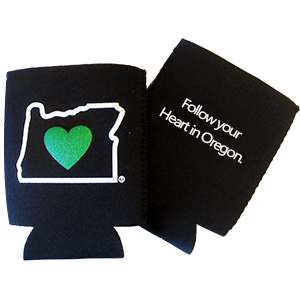 Beer insulator cooler-  black color- heart in oregon logo - double sided