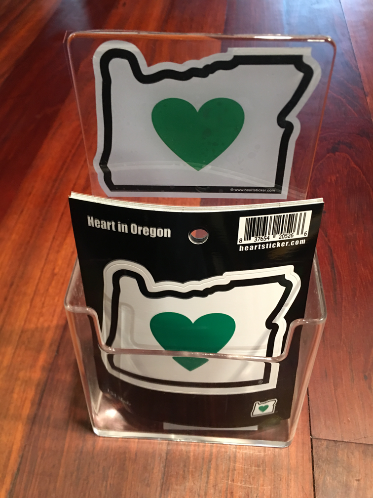 Wholesale 50 Heart in Oregon Stickers w/ Display - Heart In Oregon