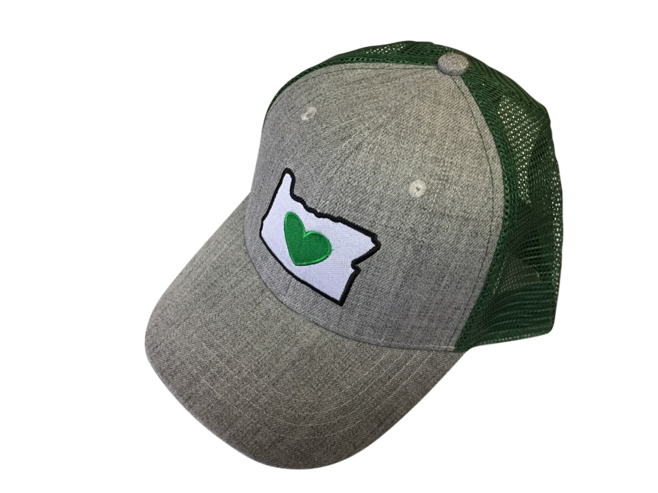 Trucker Hat - Heather Grey/Forest Green | Heart in Oregon - Heart In Oregon
