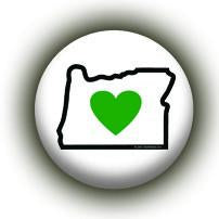 Heart in Oregon OR Embroidered Sticker - Single