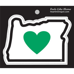state of oregon border green heart on white large sticker