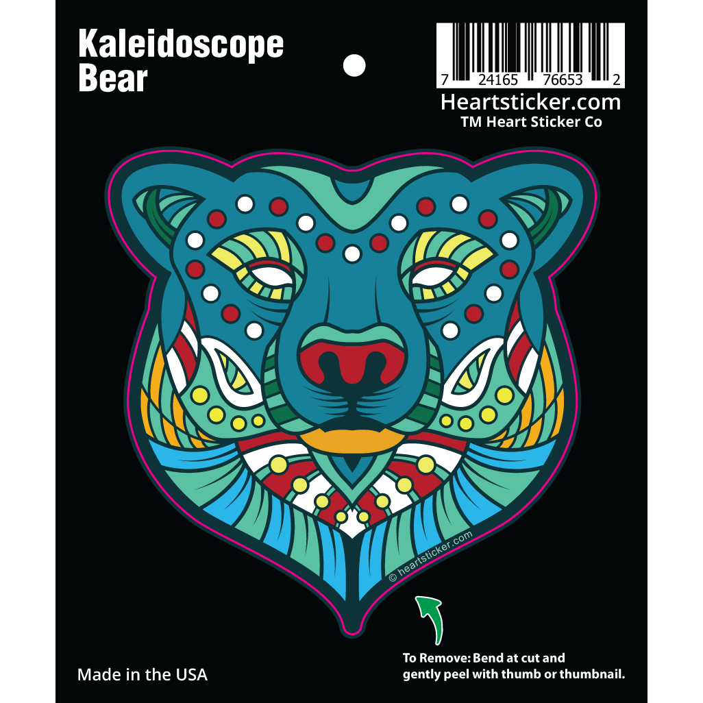 Oregon Kaleidoscope Bear Vinyl Sticker - Heart In Oregon