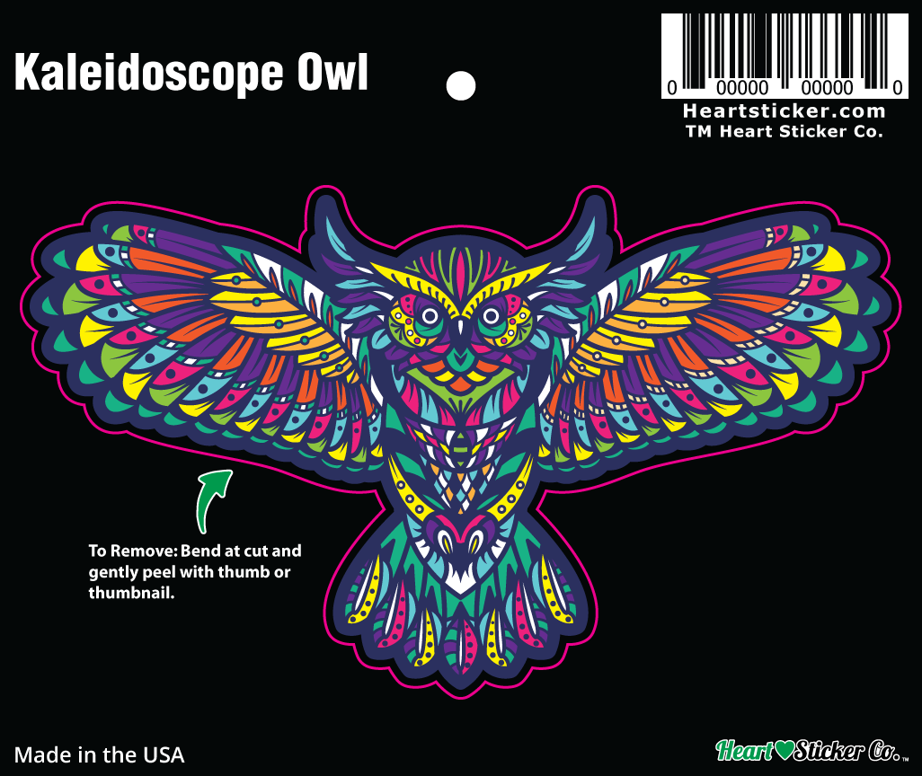 Kaleidoscope Owl Sticker | Die Cut - Heart In Oregon