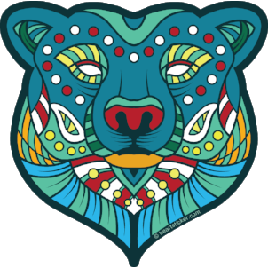 Oregon Bear Vinyl Sticker Psychedelic Tribal Design