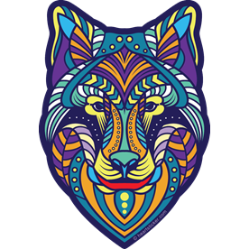 Oregon Kaleidoscope Wolf, Tribal, Psychedelic, Sticker