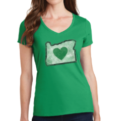Ladies Charcoal Vintage V-Neck Shirts | Heart in Oregon
