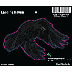 Landing Raven - Vinyl Sticker - Die Cut - All Weather - G.O.T. - Heart In Oregon