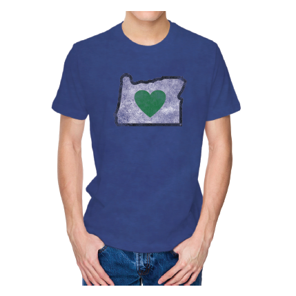 Men's Heather Blue Vintage Heart in Oregon Short Sleeve Shirt - Heart In Oregon