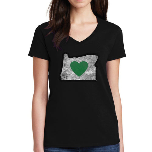 Ladies Charcoal Vintage V-Neck Shirts | Heart in Oregon - Heart In Oregon