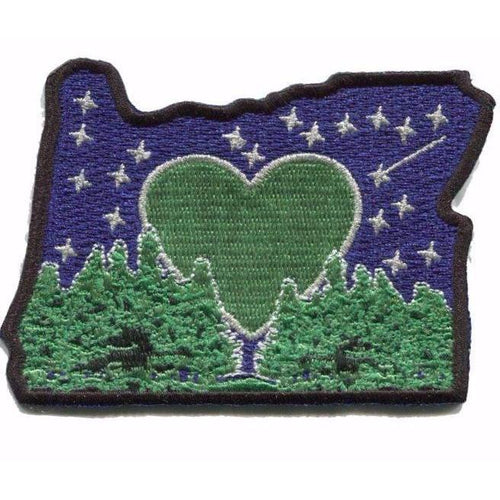 Heart in Oregon Embroidered Sticker, Coolers, Backpacks, Camping Chairs, Tumblers, tents, starry night, Mt Hood, Mt Bachelor, Crater Lake, Oregon Coast