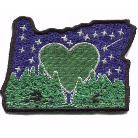 Heart in Oregon Flag | Green Heart, White Flag, Black Border 3' x 4'