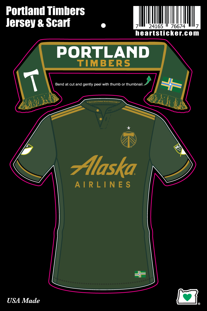 Portland Timbers Jersey and Scarf Sticker (2 in 1) - Heart In Oregon