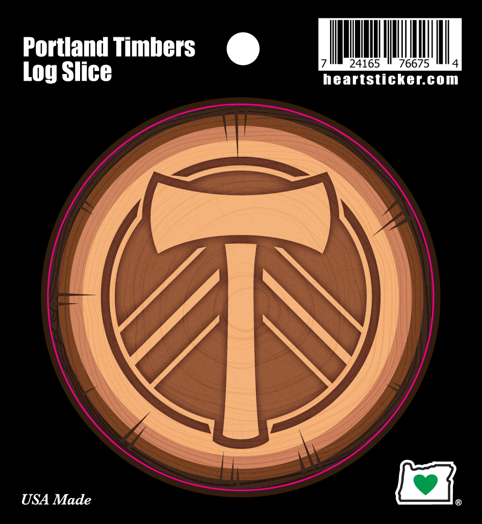 Portland Timbers Log Slice Sticker - Heart In Oregon