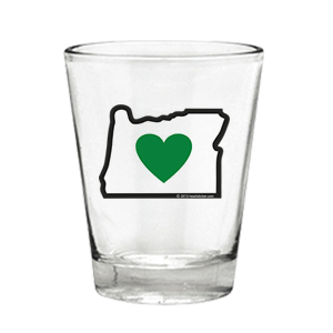 Heart in Oregon Shot Glass - transparent design and logo, high quality print, locally printed, whiskey, bourbon, vodka, tequila, milk, ginger