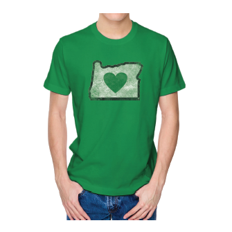 Men's Heather Green Vintage Heart in Oregon Logo Short Sleeve Shirts - Heart In Oregon