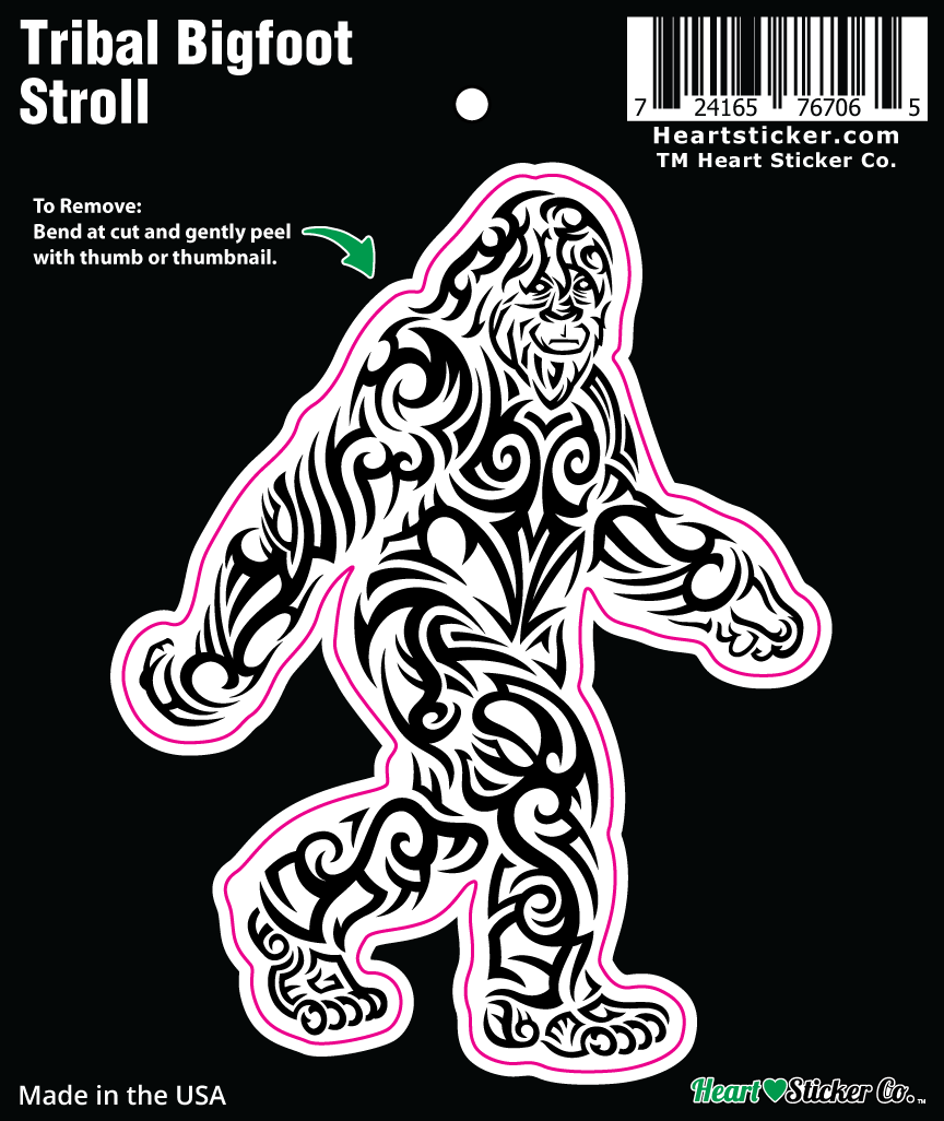Black and White Tribal Bigfoot Stroll Sticker | Die Cut - Heart In Oregon