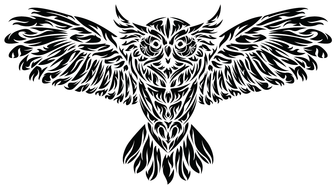 Black and White Tribal Owl Sticker | Die Cut - Heart In Oregon