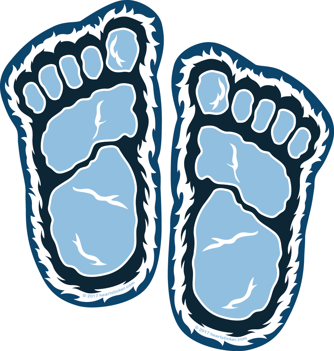 Yeti Foot Print Sticker (2 in 1) Small Foot | Die Cut - Heart In Oregon