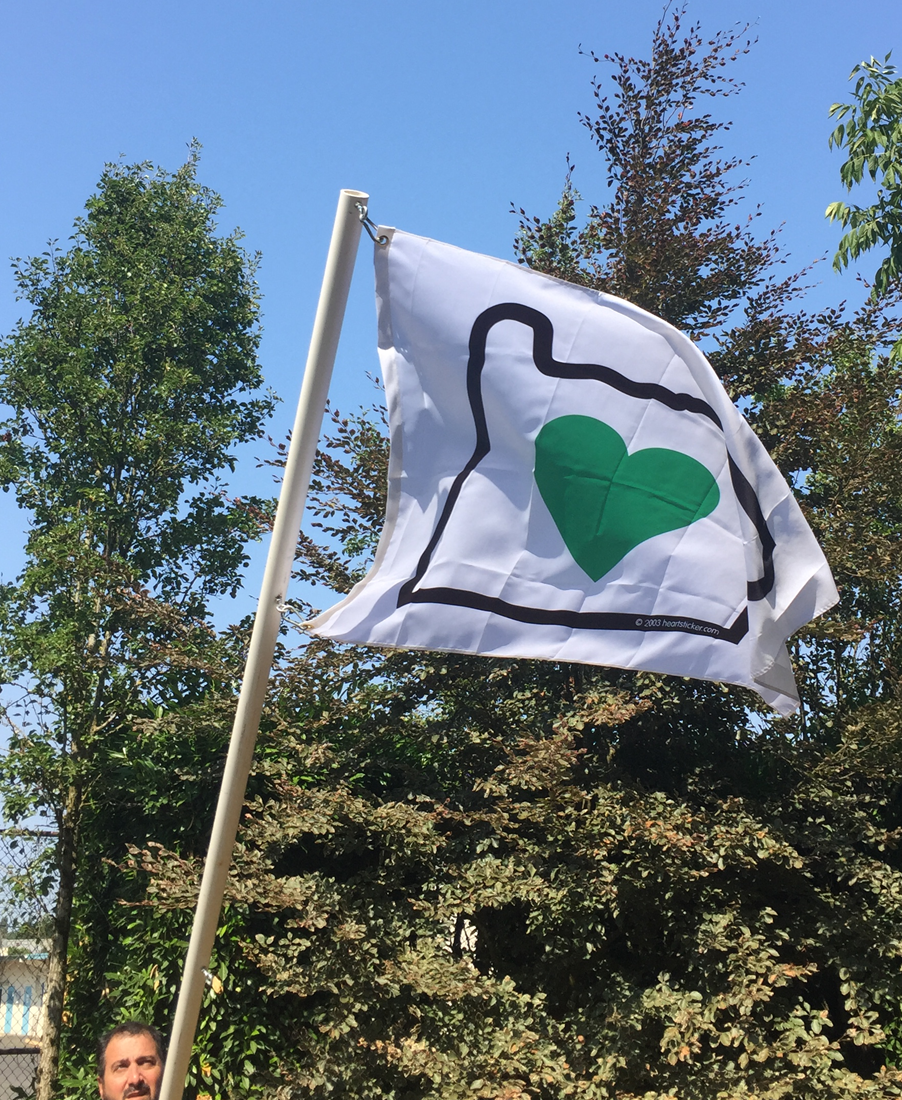 Heart in Oregon Flag | Green Heart, White Flag, Black Border 3' x 4' - Heart In Oregon