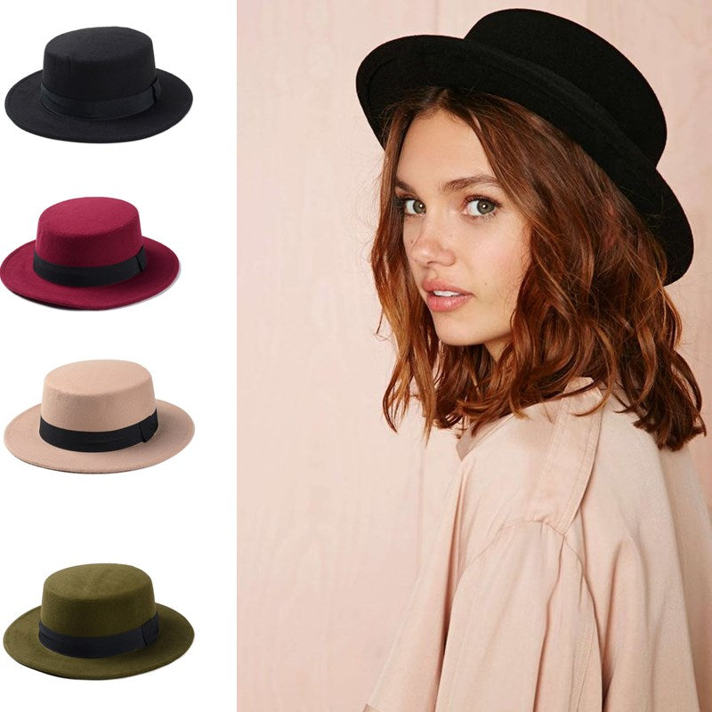 Hats N Beanies Wool Boater Flat Top Hat For Women s Felt Wide Brim Fedora  Hat Laday 6af0ea93bf1