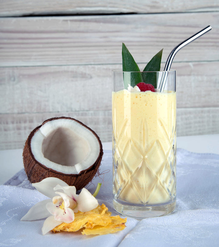 coconut smoothie with protein, fiber and energy, milk and blend