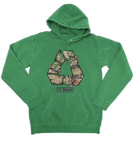 Hoodie RE-SKATE - Kelly Green - C1RCA FOOTWEAR | Official Website