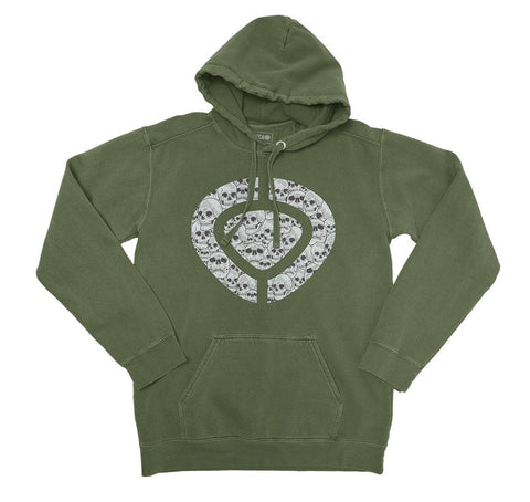 Hoodie ICON SKULL - Military Green