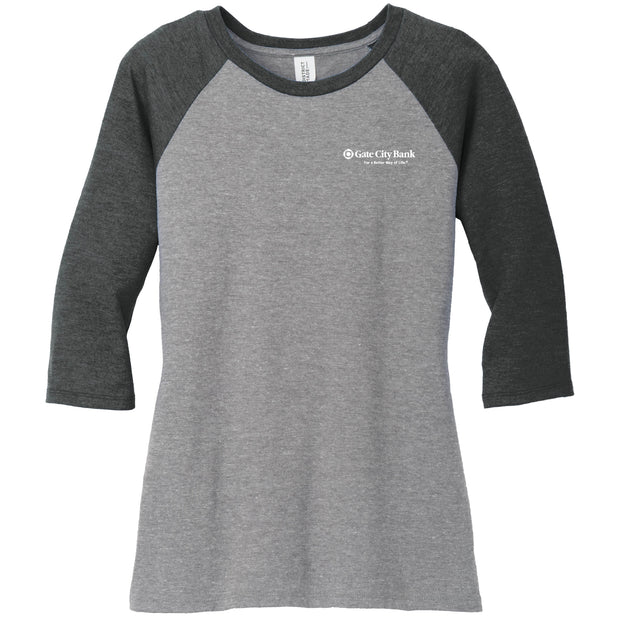 GC219. Women's District® Perfect Tri ® 3/4-Sleeve Raglan