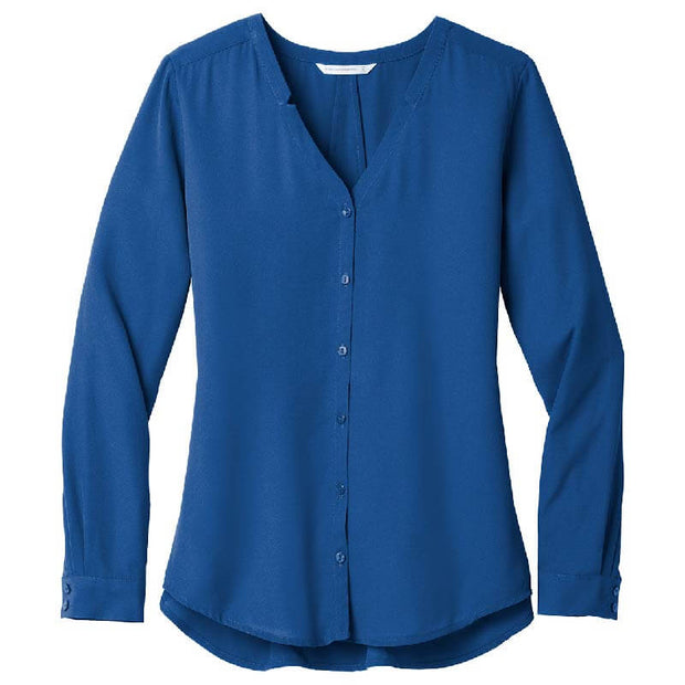 BB1061. Ladies' Long Sleeve Button-Front Blouse