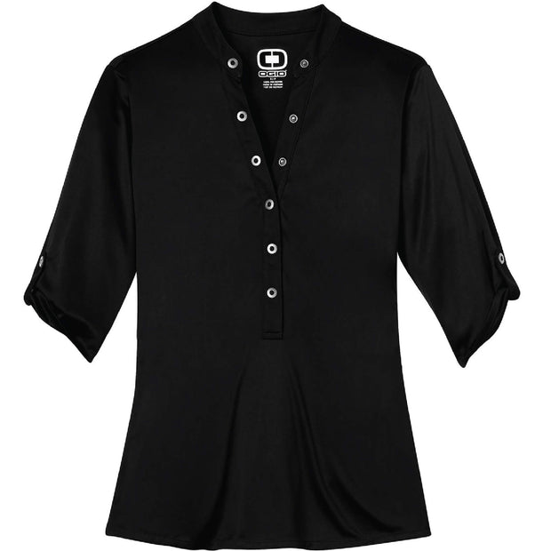 MAW102. Ladies' 3/4-Sleeve Crush Henley